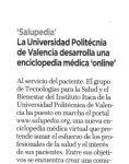 Captura de Gaceta negocios: La Universidad Politécnica de Valencia desarrolla una Enciclopedia Médica Online